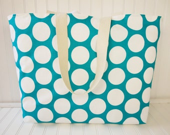 Polka Dot and Turquoise Beach Tote - Extra Large Beach Bag - Waterproof Beach Bag - Extra Large Tote