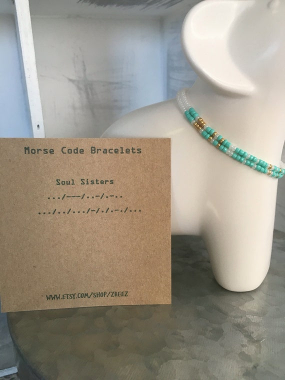 Soul Sister's Morse Code 2 pack Stretchy Bracelet Set - Teal ***Shipped to seperate addresses***