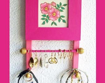 Small Bathroom Jewelry Holder Fuchsia , Wall Jewelry Holder, Jewelry Organizer, Wall Jewelry Hanger, Wood Jewelry Rack, Jewelry Display