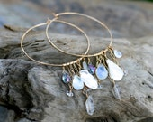 Reserved Listing for Bethany Moonstone, Keishi Pearl, Mystic Topaz, Herkimer Diamond Extra Large 14KT Gold Filled Hammered Hoop Earrings, Bo