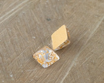 Clear Glass Etched with Gold Pyramid Cabochons (2) cab580G