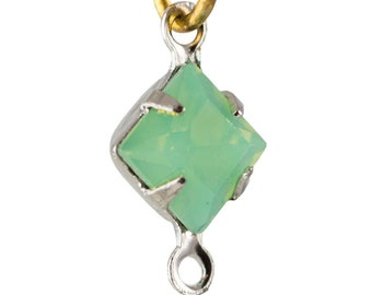 Green Opal Faceted Square Glass Stones 2 Loop Silver Plated Setting 6mm (8) squ013PP2
