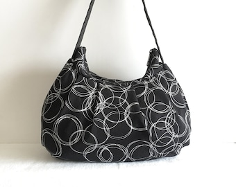 Pleated Bag // Shoulder Purse - Circles Knit in Black