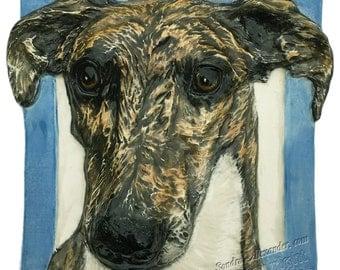 Greyhound Dog Tile CERAMIC Portrait Sculpture 3d Art Tile Plaque Made to Order FUNCTIONAL ART by Sondra Alexander