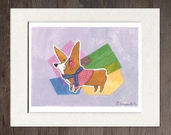 "Corgi, ""Corgi Stardust"" Matted Art Print"