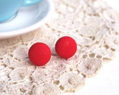 Lipstick Red Tiny Button Earrings