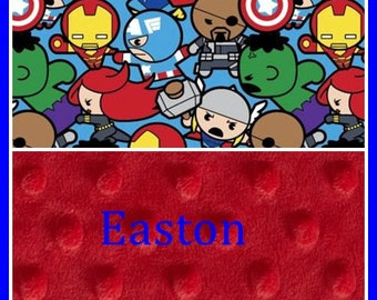 Avengers Blanket~Kawaii Marvel Baby Blanket~Personalized Boy Blanket~Nursery Avengers Room~