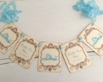 Mermaid Banner Garland Vintage Style Decoration Baby Shower Birthday Party