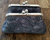 SALE - Floral Scroll Charcoal Lace Over Charcoal Clutch