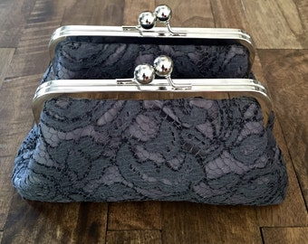 2 Personalized Floral Scroll Charcoal Lace Over Charcoal Clutch