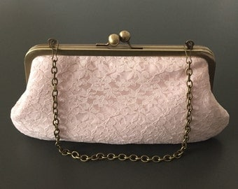 Blush Cotton Lace Flower Clutch with Antique Brass Frame and Chain.