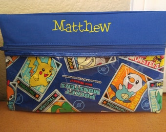 Custom Monogramed Pencil Case Made with Pokemon Fabric