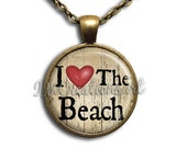 I Love The Beach Glass Dome Pendant or with Chain Link Necklace NL106