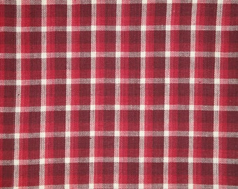 Homespun Fabric | Cotton Fabric |  Primitive Fabric |  Check Fabric | Wine, Red And Cream Fabric | 1 Yard