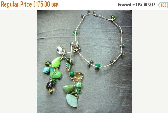 September SALE. One off Piece, Jade and Glass Lariat Necklace, Boho Jewellery, Summer jewellery