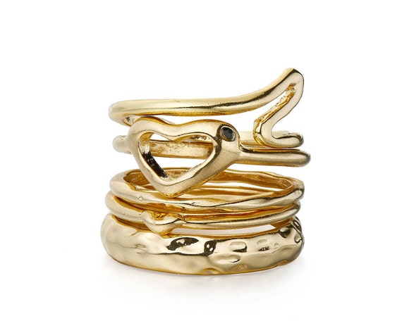 Gold Stacking rings with a Diamante
