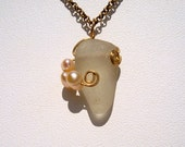 Sea Glass Necklace -White Seaglass with Freshwater Pearls -Beach Glass Jewelry