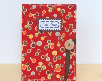 personalized brag book photo album in cranberry mod flowers