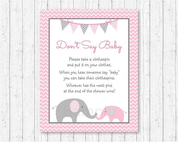 don 39 t say baby baby shower game pink elephant elephant baby shower