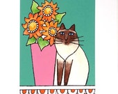 Himalayan Cat Art Print/ Chocolate Point with Flower Bouquet by Susan Faye