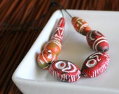 Ceramic African Beads - Orange and Red Collection