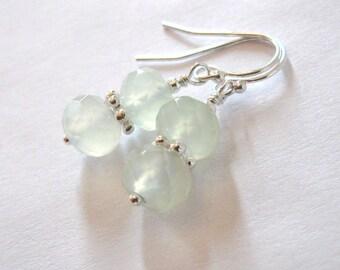 Serpentine New Jade Sterling Silver Earrings, Soo Chow Jade, Celadon Green