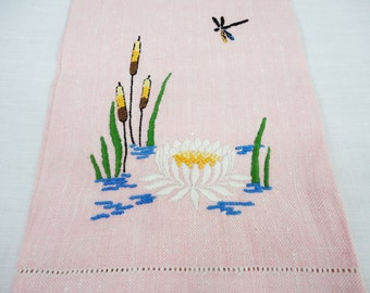 Salmon Color Linen Towel With Embroidered Cattails and Lotus Flower