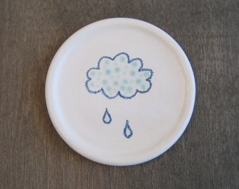 Coffee Spoon Rest or Teabag Holder, Polka Dot Rain Cloud Pottery Dish, Ring Holder, Stoneware Ceramic Jewelry Dish