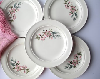 Bread and Butter Plates Hall Peach Blossom Pink Gray Set of Five - Vintage Chic