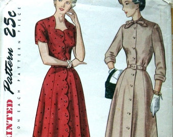 Womens Dress Pattern Button Front Dress With 2 Necklines Vintage 1950s Dress Sewing Pattern Simplicity 2922 Sz16 Uncut