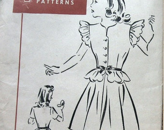 Vintage Girls Dress Pattern With Peplum circa 1940s Superior Patterns 6634 Sz 8