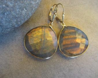 Large Copper Labradorite Gold Earrings, Peach, Orange, Drop, Leverback, Irisjewelrydesign
