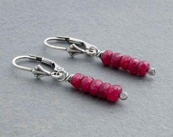 Petite Ruby Earrings, Ruby Dangle Earrings, July Birthstone, Faceted Ruby Earrings, Lever Back, Sterling Silver, Red Gemstone, #4656