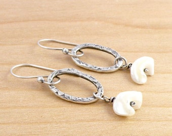 Organic Shape Mother of Pearl Dangle Earring, Natural Shell, Boho Earrings, White Shell, Fine Silver Ovals, Hammered Sterling Silver #3409