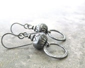 rustic silver earrings, boho silver earrings, silver drop earrings, metalwork earrings, oxidized silver earrings