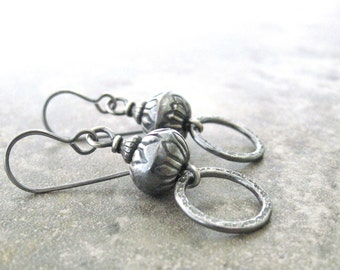 rustic silver earrings, boho silver earrings, silver drop earrings, metalwork earrings, oxidized silver earrings