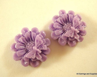 BOGO - 6 Butterfly Cabochon Flower Bead Lavender Resin Flower 18mm - No Holes - 6 pc - CA2015-L6 - Buy 1, Get 1 Free - No coupon required