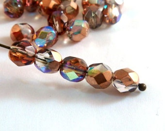 25 Czech Glass Capri Gold AB 6mm Fire Polished Faceted Round Beads - 25 pc - G6035-CG25