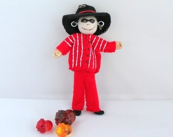 Halloween doll decoration hanging ornament Black Hat Bandit  bones boy, Felt Ornaments