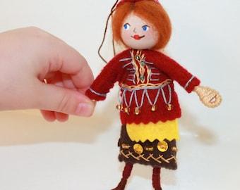 Felt Art Doll or Hanging Ornament Woodland Colors Pixie, felt figurine, felt pixies, bendy dolls