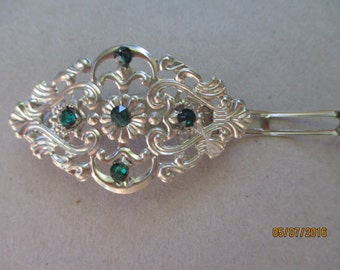 Wedding Barrette  Emerald Green Swarovski Crystals French Style Barrette