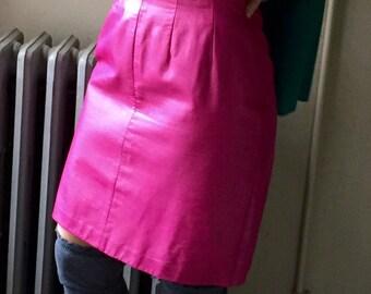 Vintage Skirt Leather Pink 80's Mini Pencil Skirt Mini Skirt