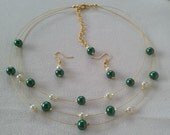 SALE Deep Green Ivory and Gold Floating Pearls Necklace and Earrings