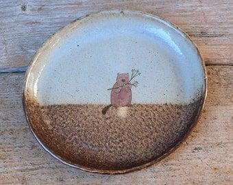 Rustic Beaver Black Ceramic Dish