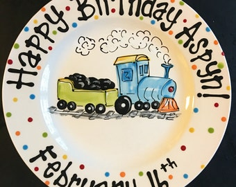 Hand Painted Personalized Train, Railroad theme Birthday Plate