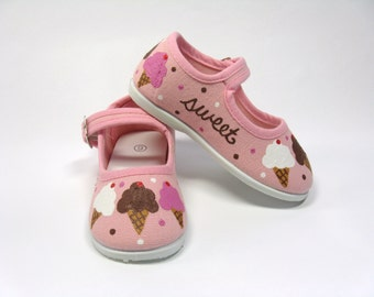 Ice Cream Cone Shoes, Ice Cream Theme Birthday Party Outfit, Hand Painted Mary Jane's, Pink Cotton Canvas, for Baby or Toddler