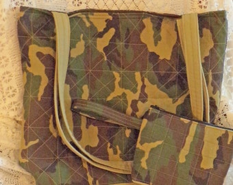 Handmade large tote bag camouflage shoulder bag purse with matching  wristlet