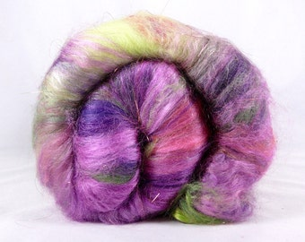Deluxe Smooth Drum Carded Fiber Batt for Spinning and Felting- Candy Apple