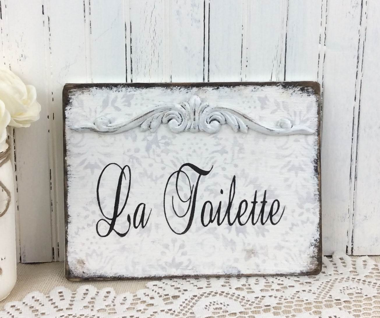 La Toilette Sign French Bath Sign Vintage Styled Shabby
