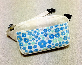 Body Bag / Waist Pouch / Hip Bag / Fanny Pack --- Cats in the Blue Flowers